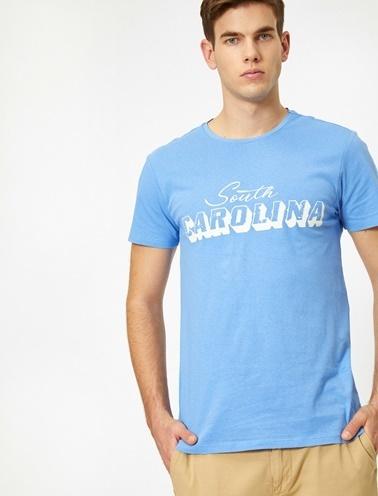 Koton Yazili Baskili T-Shirt Mavi